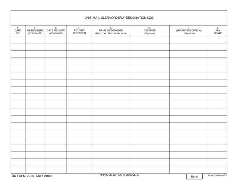 DD Form 2260  Printable Pdf