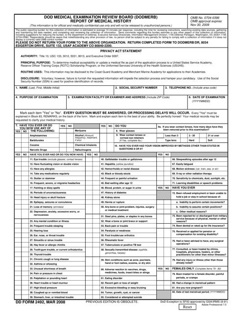 DD Form 2492 Fillable Pdf