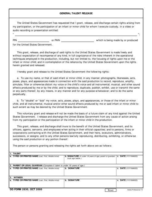 DD Form 2830 Printable Pdf