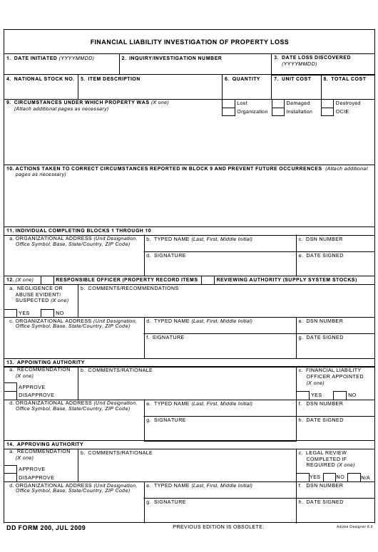DD Form 200 Fillable Pdf