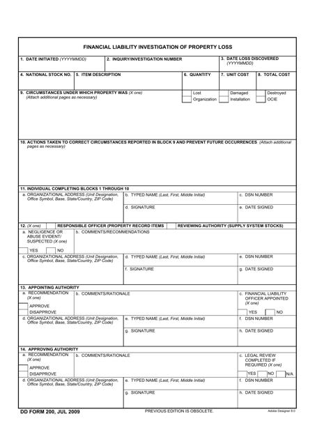 DD Form 200 Fillable Pdf