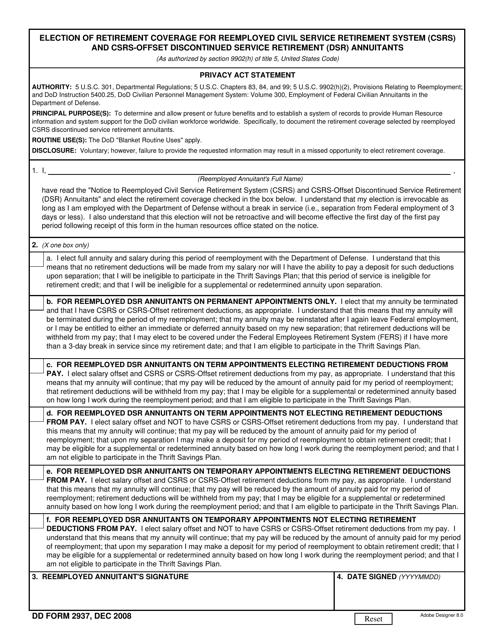 DD Form 2937 Fillable Pdf