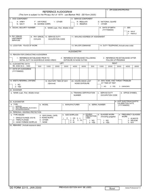 DD Form 2215  Fillable Pdf