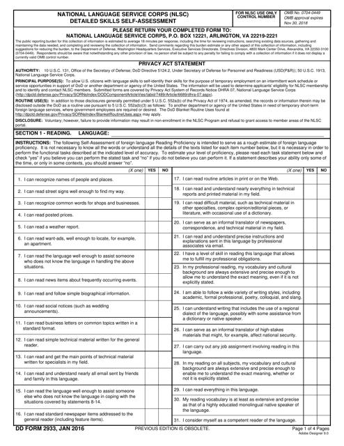 DD Form 2933  Printable Pdf