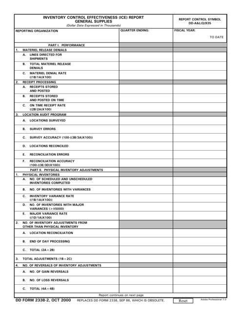 DD Form 2338-2  Printable Pdf