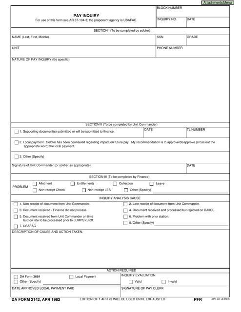 DA Form 2142 Fillable Pdf