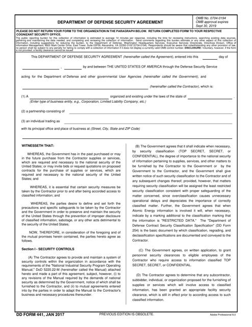 DD Form 441 Fillable Pdf