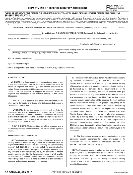 Sample Security Agreement   Dd Form 441 Download Fillable Pdf Department Of Defense Security