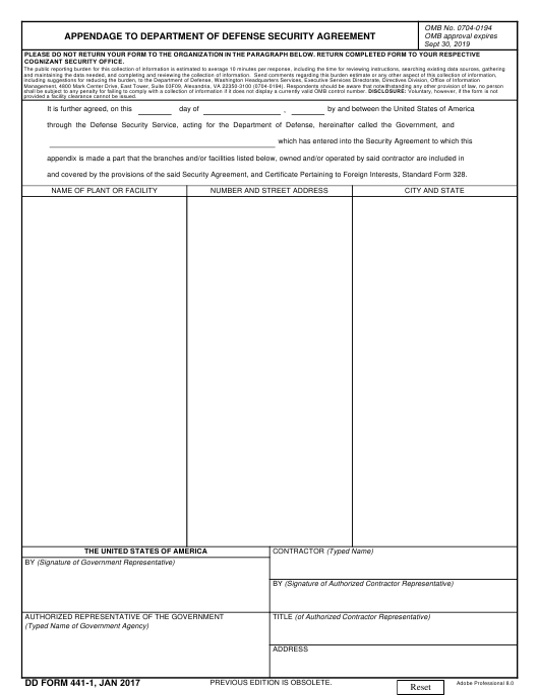 DD Form 441-1 Fillable Pdf