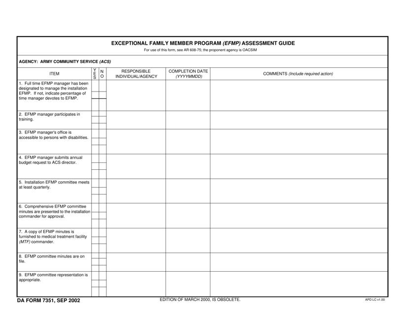 DA Form 7351  Fillable Pdf