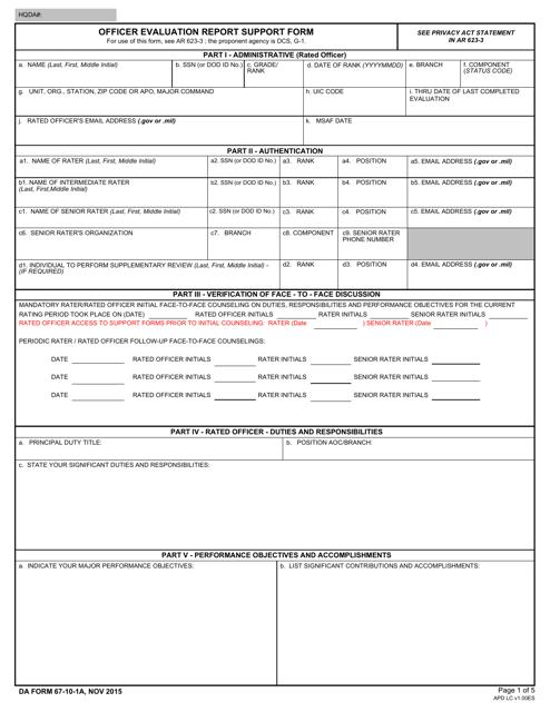DA Form 67-10-1A  Fillable Pdf