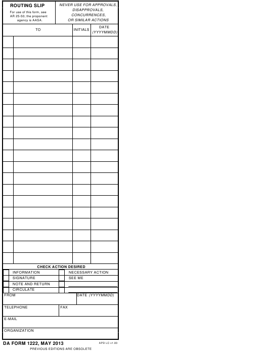 DA Form 1222  Fillable Pdf