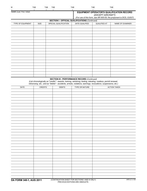 DA Form 348-1  Fillable Pdf