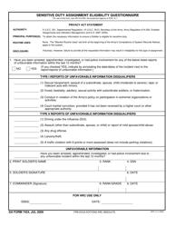 DA Form 7424 Sensitive Duty Assignment Eligibility Questionnaire