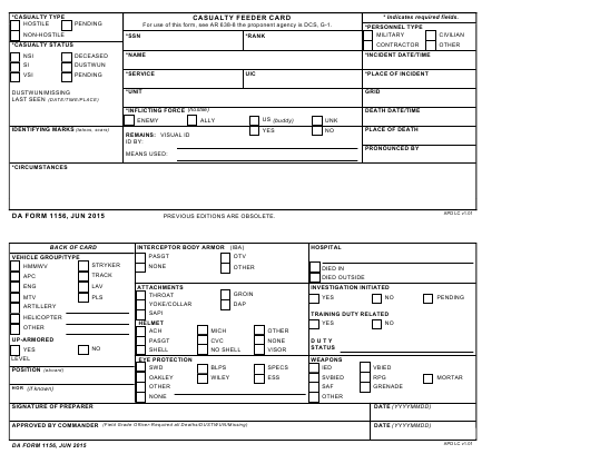DA Form 1156 Fillable Pdf