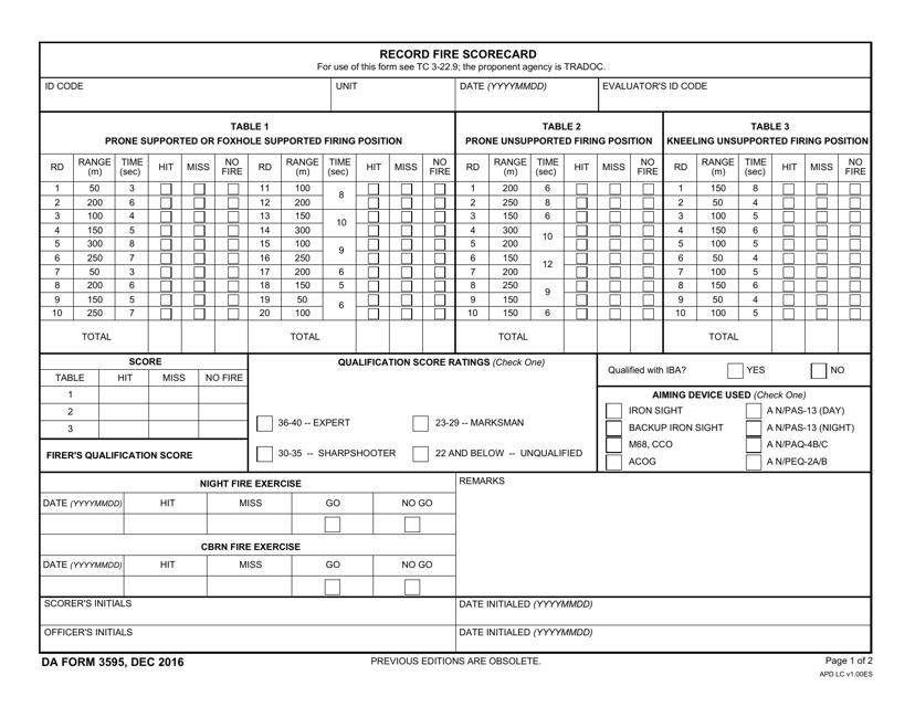 DA Form 3595 Fillable Pdf
