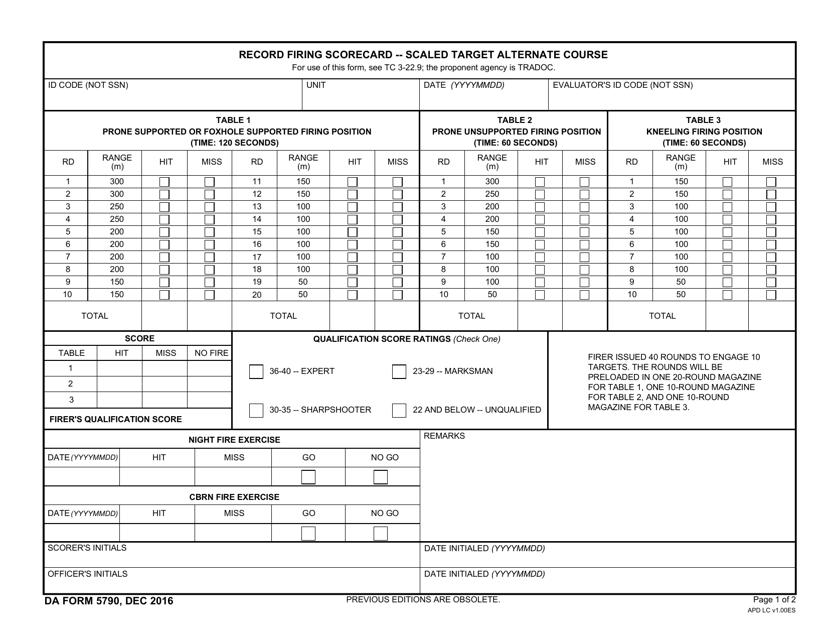DA Form 5790 Printable Pdf