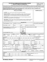 DD Form 2351 DoD Medical Examination Review Board (Dodmerb) Report of Medical Examination