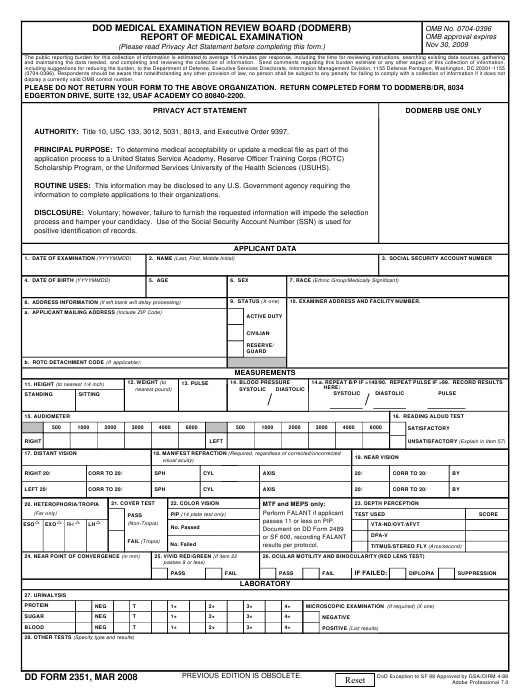 DD Form 2351 Fillable Pdf