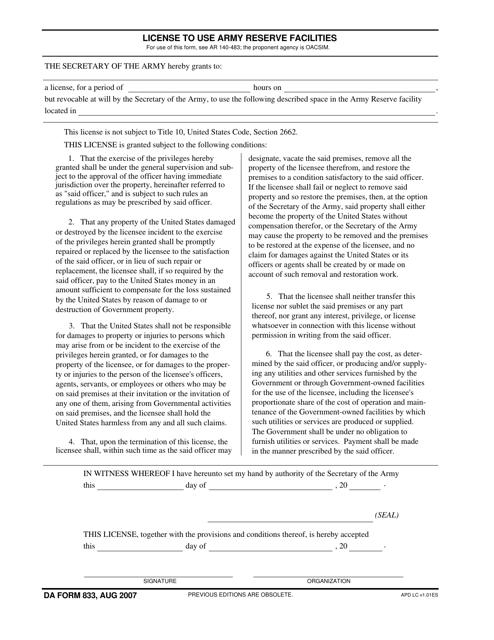 DA Form 833 Fillable Pdf