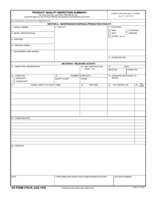 DA Form 3703-R Printable Pdf