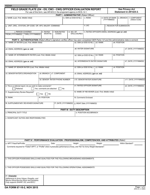 DA Form 67-10-2 Fillable Pdf