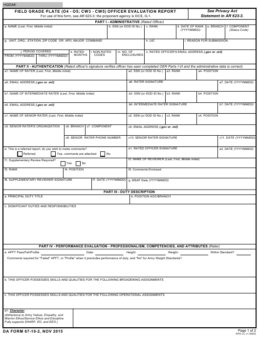 DA Form 67-10-2  Fillable Pdf