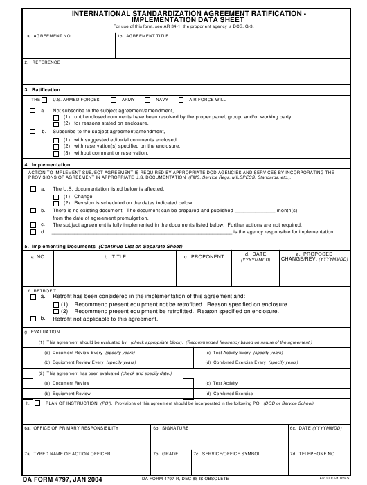 DA Form 4797 Fillable Pdf
