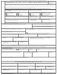 """DD Form 1056 Authorization to Apply for """"no-Fee"""" Passport and/Or Request for Visa, Page 2"""