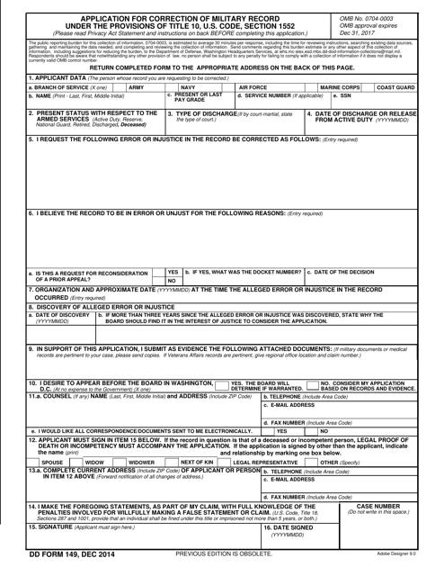 DD Form 149  Printable Pdf