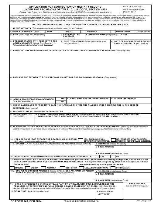DD Form 149  Fillable Pdf