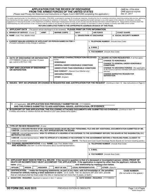 DD Form 293 Fillable Pdf