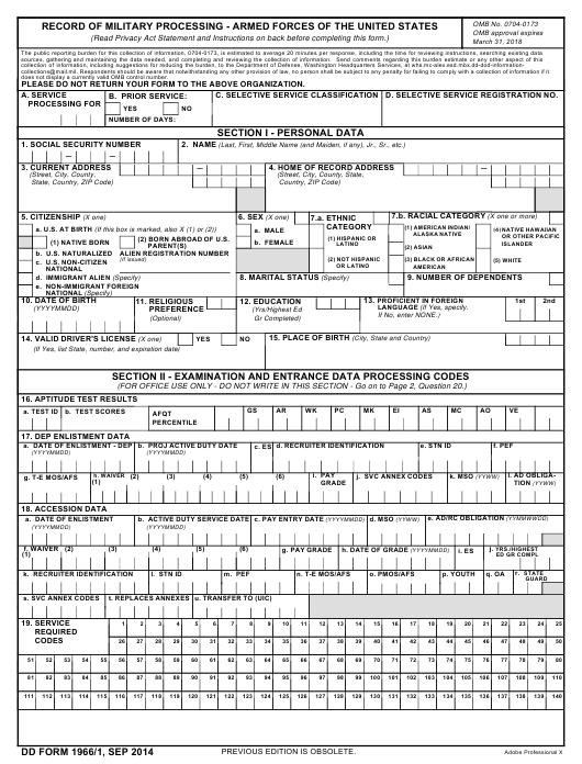 DD Form 1966 Fillable Pdf