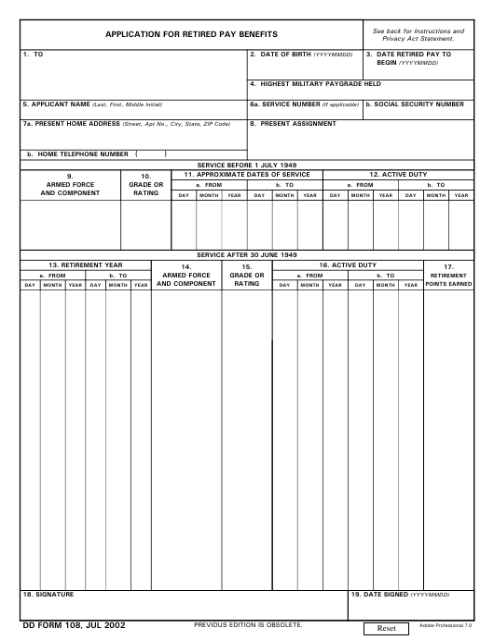 DD Form 108 Fillable Pdf