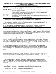 DA Form 3540 Certificate and Acknowledgement of U.S. Army Reserve Service Requirements and Methods of Fulfillment