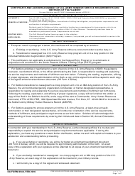 "DA Form 3540 ""Certificate and Acknowledgement of U.S. Army Reserve Service Requirements and Methods of Fulfillment"""