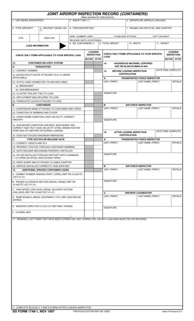 DD Form 1748-1 Printable Pdf