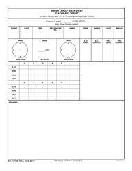 DA Form 7651 Sniper Target Data Sheet Stationary Target