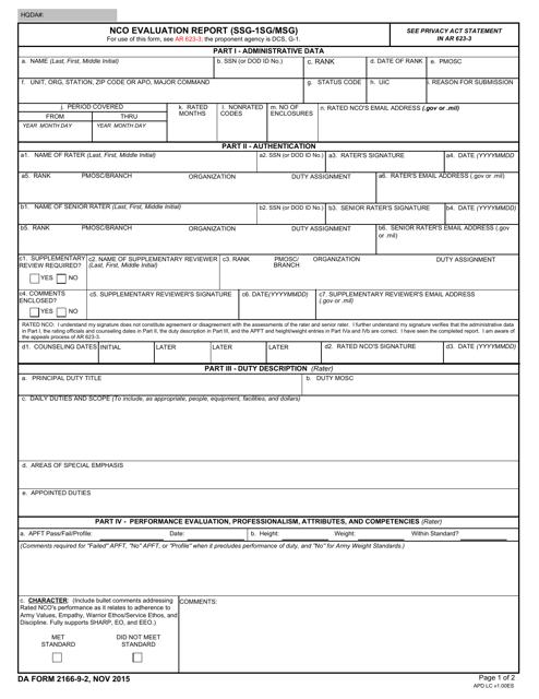 DA Form 2166-9-2  Fillable Pdf