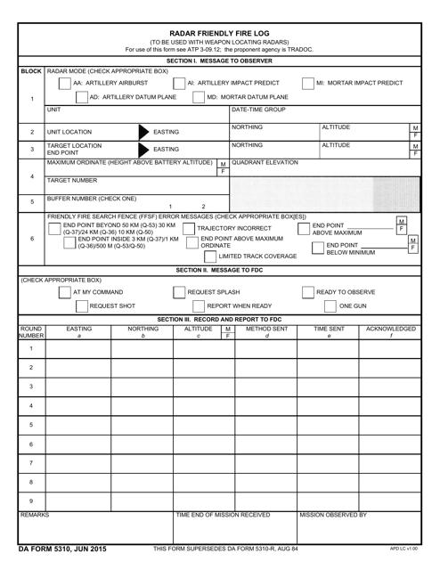 DA Form 5310  Printable Pdf