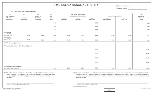 DD Form 2060 Fillable Pdf