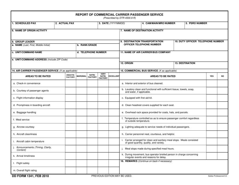 DD Form 1341 Fillable Pdf
