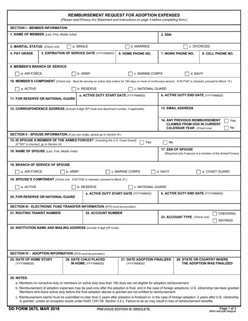 DD Form 2675 Printable Pdf