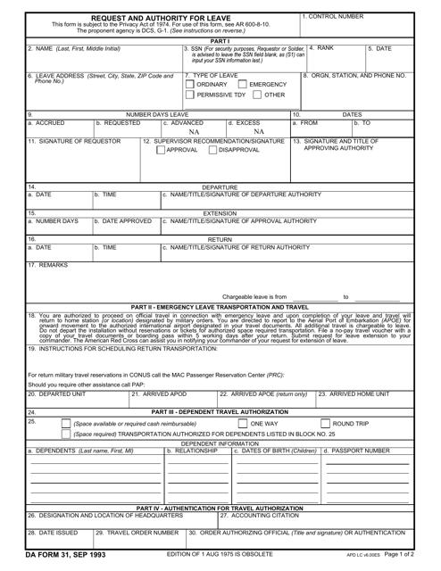 DA Form 31 Fillable Pdf