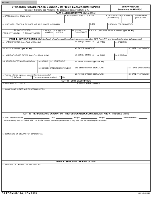 DA Form 67-10-4  Fillable Pdf