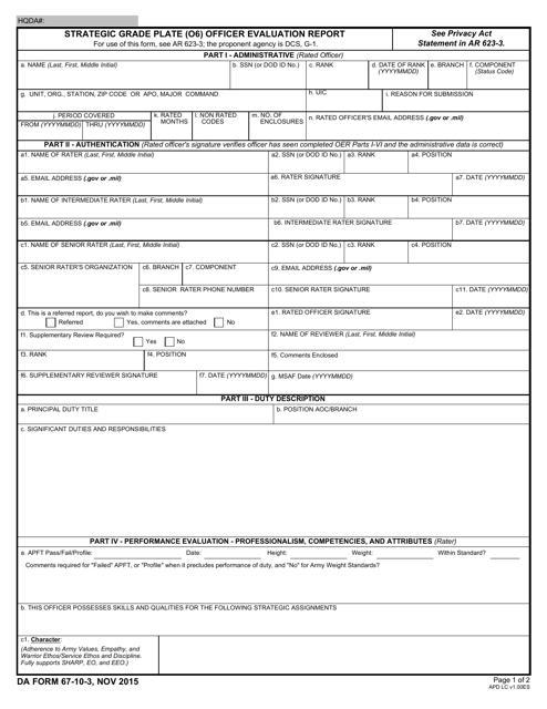 DA Form 67-10-3  Fillable Pdf