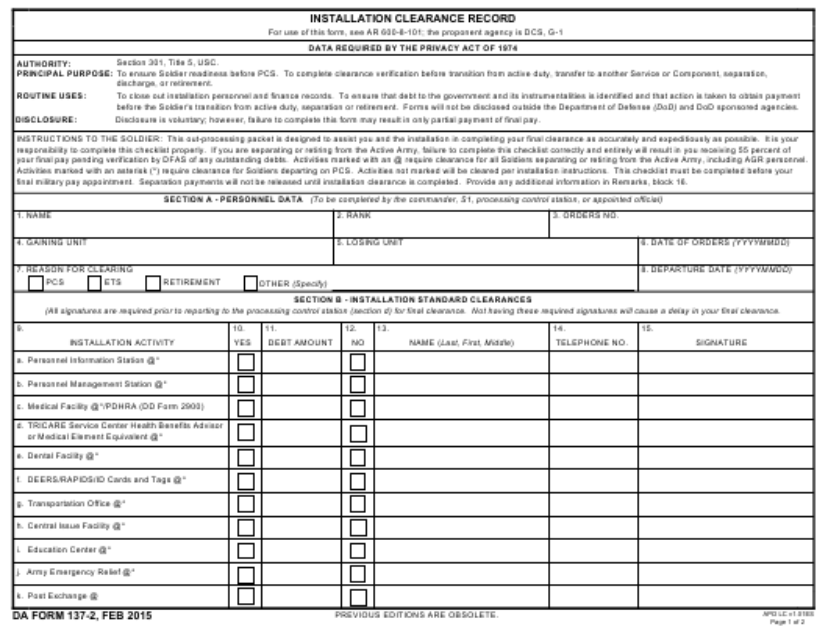 DA Form 137-2 Fillable Pdf