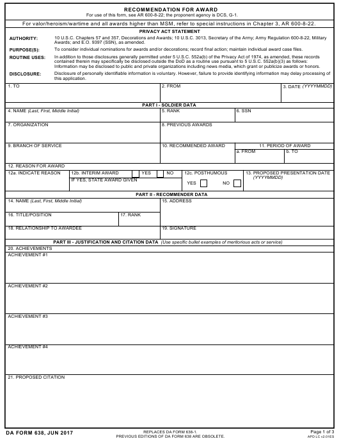 DA Form 638 Fillable Pdf