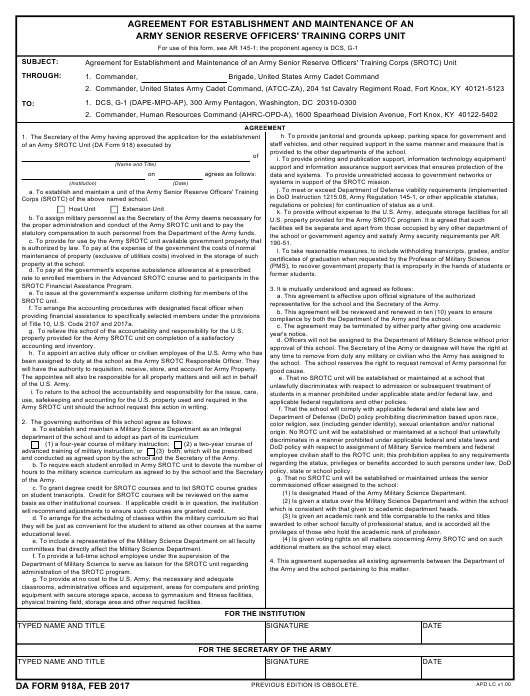 DA Form 918A  Fillable Pdf
