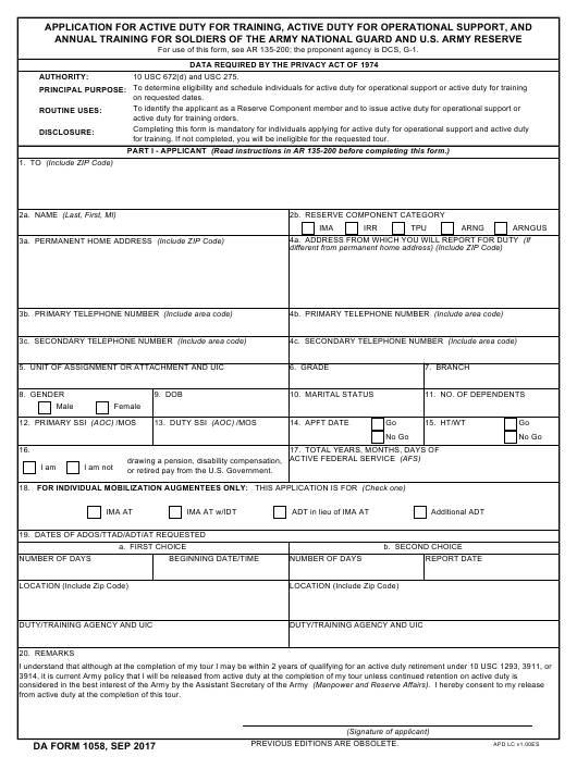 DA Form 1058 Fillable Pdf